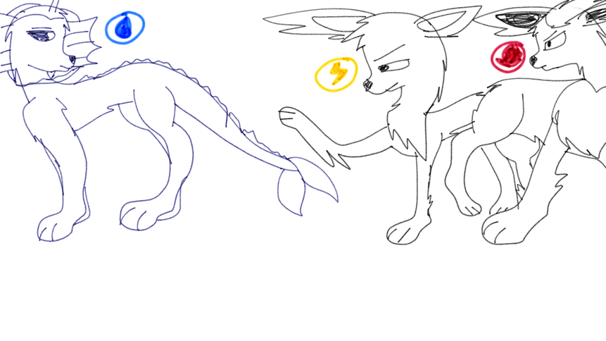 The classic colors evolution: Vaporeon, Flareon, and Jolteon! In adult